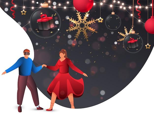 Jovem convida mulher imaginária moderna para dançar através de óculos de vr na vista de festa.