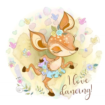 Jovem corça bonita em uma dança de tutu