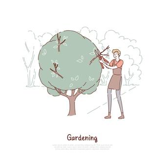 Jovem cortando arbusto