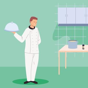 Jovem cozinheiro com bandeja e mesa de trabalho ilustração design