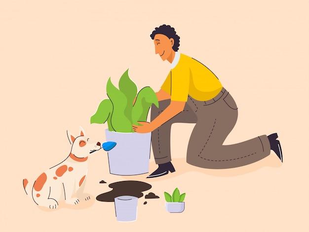 Jovem, cuidar de plantas e desenhos animados de cão em fundo de pêssego.