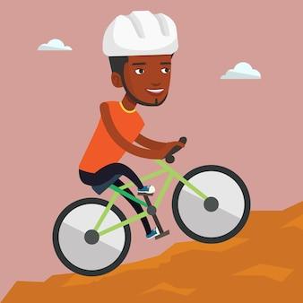 Jovem de bicicleta viajando nas montanhas.