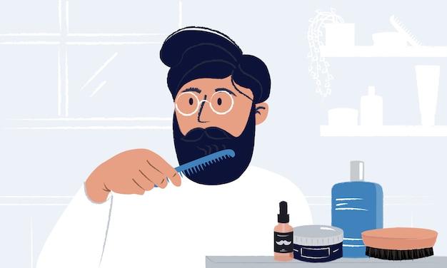 Jovem de óculos escovando a barba e se olhando no espelho. higiene e autocuidado dos homens.