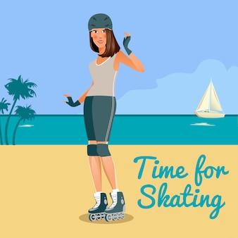 Jovem de patins rolller ao longo da costa. pessoas ativas. ilustração vetorial
