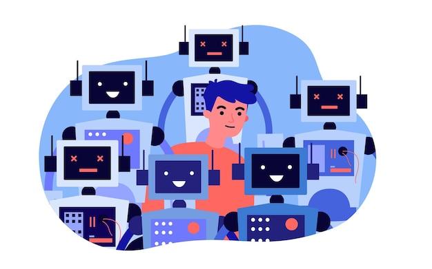 Jovem de pé na multidão de robôs. ilustração em vetor plana. homem cercado por robôs inteligentes com painéis de controle funcionais e quebrados. robótica, futuro, tecnologias modernas, conceito de humanidade