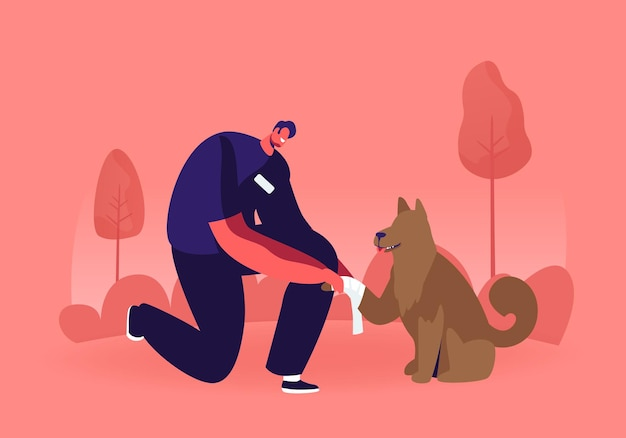 Jovem de pé na pata de cachorro sem-teto bandagem no joelho. ilustração plana dos desenhos animados