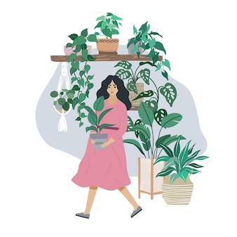 Jovem de vestido rosa cuida de plantas caseiras, interior moderno de quarto de selva urbana, ilustração plana desenhada à mão.