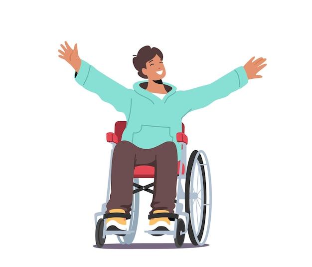 Jovem deficiente sentado em uma cadeira de rodas