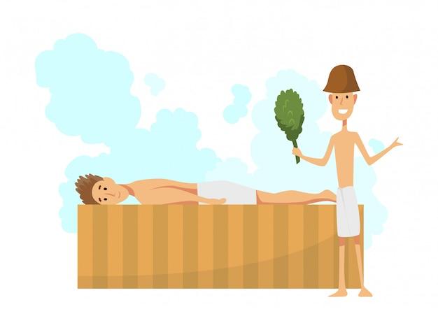 Jovem, deitado em uma espreguiçadeira. procedimento de banhos ou banya cheio de vapor.