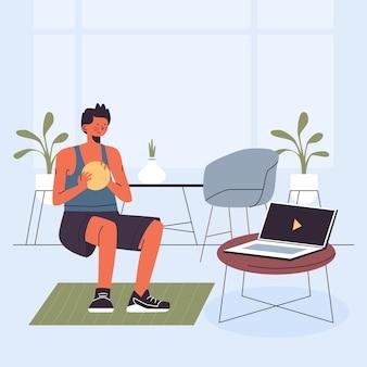 Jovem desenhado fazendo aulas de esportes online ilustradas