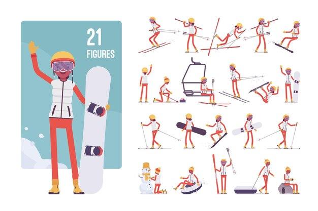 Jovem desportiva num conjunto de caracteres de resort de inverno