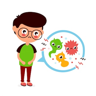 Jovem doente com dor de estômago, intoxicação alimentar, problemas de estômago, dor abdominal. ilustração de personagem de desenho animado plana. germes médicos, bactérias,