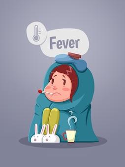 Jovem doente com febre, bebendo uma xícara de chá quente. ilustração vetorial