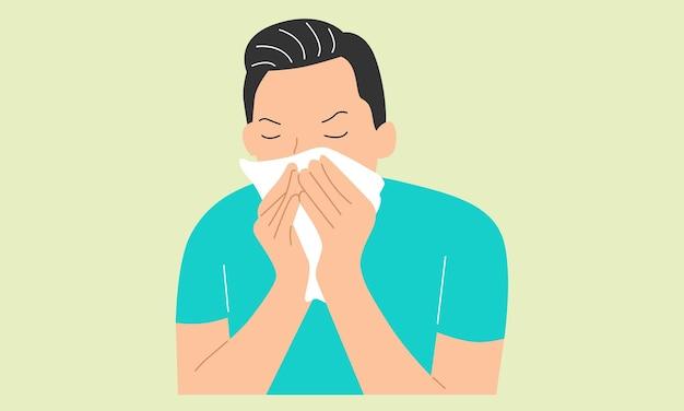 Jovem doente segurando um lenço de papel, espirrando no lenço e assoando o nariz escorrendo