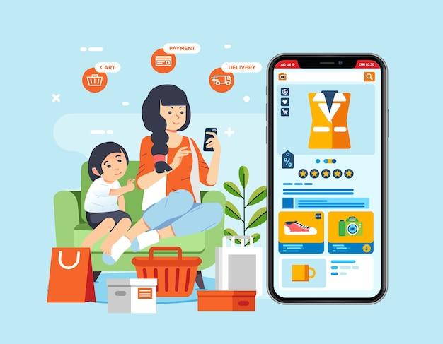 Jovem e a irmãzinha dela se sentam no sofá e fazem compras online do aplicativo do telefone móvel. sacola de compras e carrinho ao redor deles. usado para pôster, imagem da página de destino e outros