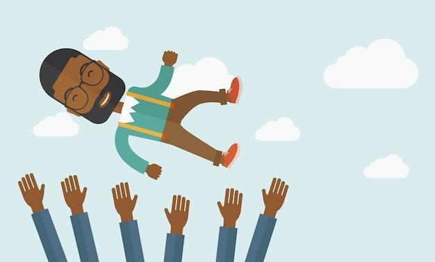 Jovem e alegre homem africano.