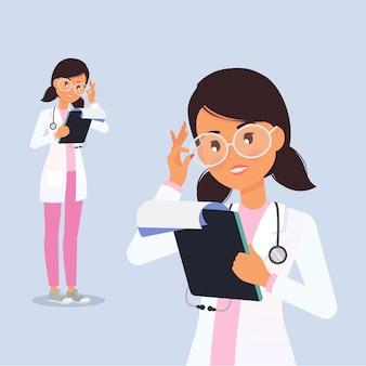 Jovem e fofa médica lendo os resultados da análise personagem plana feminina