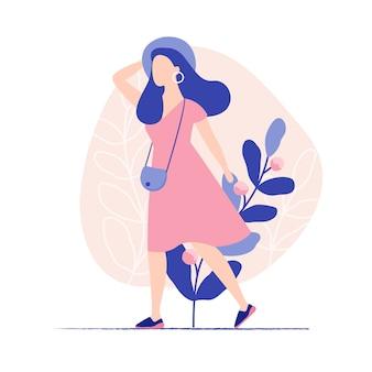Jovem e linda mulher andando. férias de verão. ilustração em vetor plana colorida