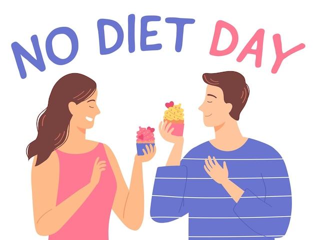 Jovem e mulher com bolinho internacional sem dia de dieta ilustração vetorial em estilo simples