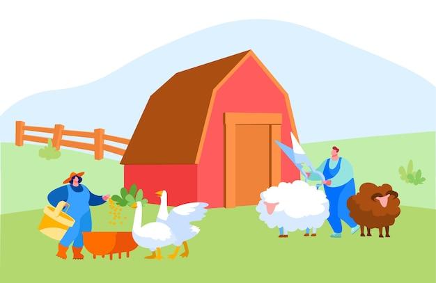 Jovem e mulher com manto de trabalho alimentando gansos