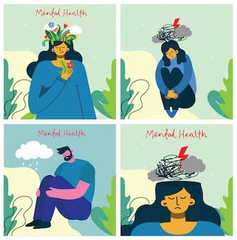 Jovem e mulher com tempestade na cabeça. conceito de ilustração de saúde mental. interpretação visual da psicologia da saúde mental.