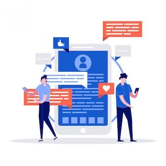 Jovem e mulher conversando com um enorme telefone, emoji e bolha de bate-papo no fundo. app de namoro e relacionamento virtual.