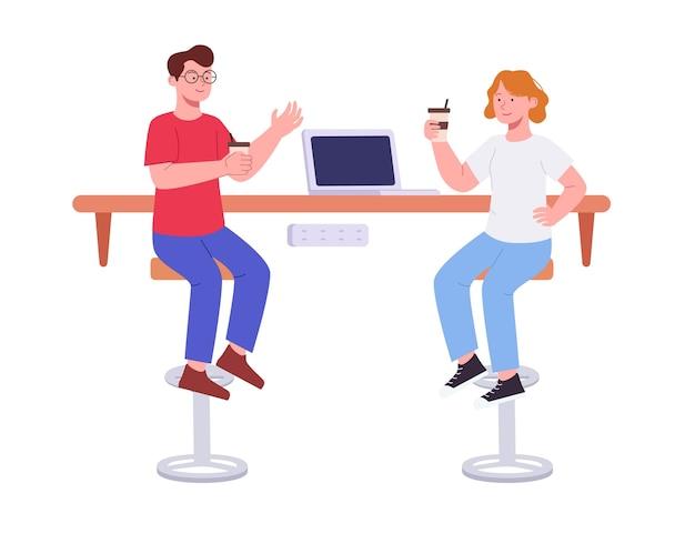 Jovem e mulher conversando sobre café