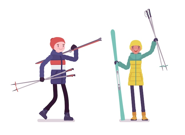 Jovem e mulher de jaqueta segurando esquis, diversão e atividade de lazer esportiva