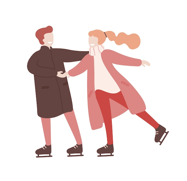 Jovem e mulher de mãos dadas e patinação no gelo juntos. atividade recreativa sazonal. data romantica. personagens de desenhos animados engraçados isolados no fundo branco. ilustração plana colorida.
