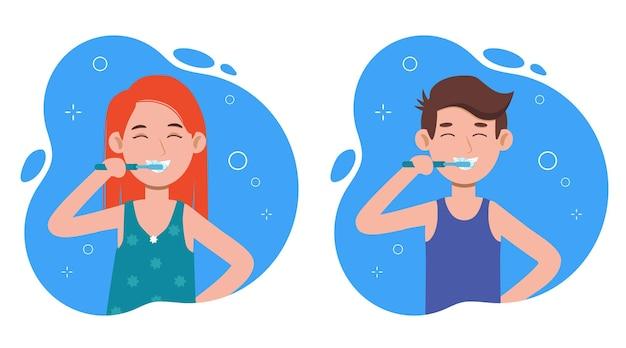 Jovem e mulher escovando os dentes em um banheiro. higiene bucal, cuidados com a saúde bucal.