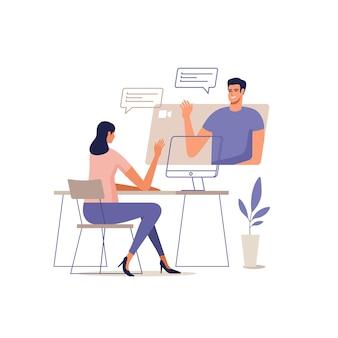 Jovem e mulher se comunicam online usando dispositivos móveis. conceito de videoconferência, trabalho remoto em casa ou reunião online.