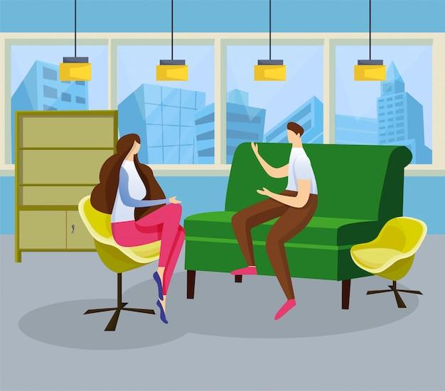 Jovem e mulher têm uma reunião calorosa de conversação