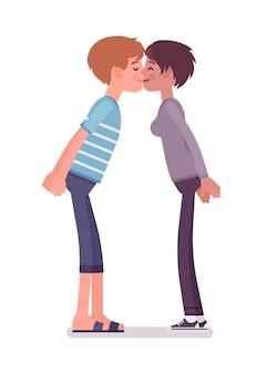 Jovem e mulher trocando beijos