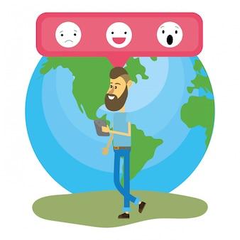 Jovem e redes sociais Vetor Premium