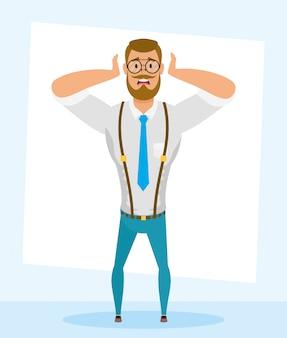 Jovem elegante com barba avatar personagem vector ilustração design