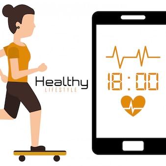 Jovem em skate móvel com estilo de vida saudável de ritmo cardíaco