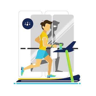 Jovem em uma pista de corrida estilo simples de ilustração vetorial conceito de estilo de vida saudável