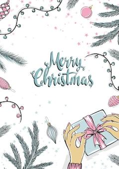 Jovem, embalagem de presente para o natal. feliz natal cartão com árvore de ano novo. ilustração em vetor férias.