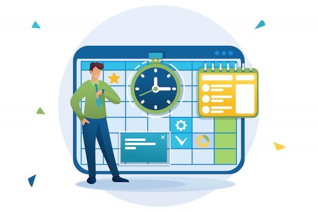 Jovem empreendedor planeja o tempo para o planejamento de negócios, preenche o calendário do mês. personagem plano. conceito de web design
