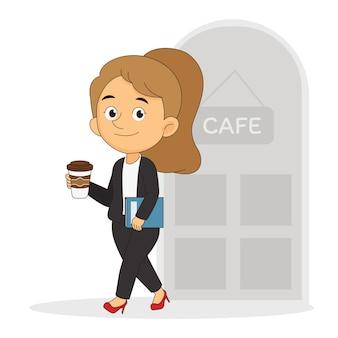 Jovem empresária casual com xícara de café