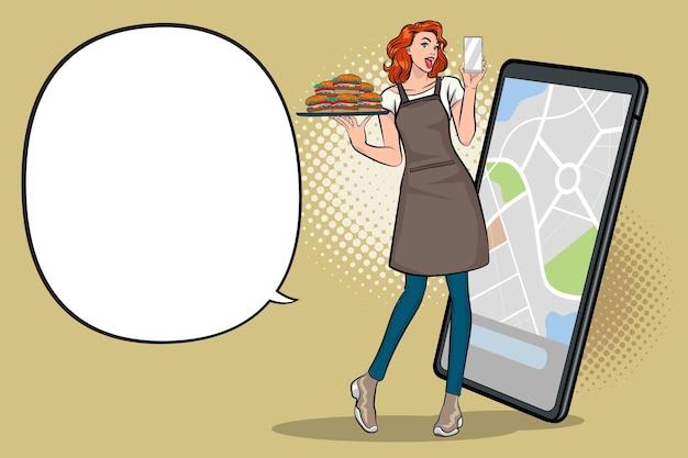 Jovem empresária feliz leva um estilo cômico retro do pedido comida on-line conceito pop art.