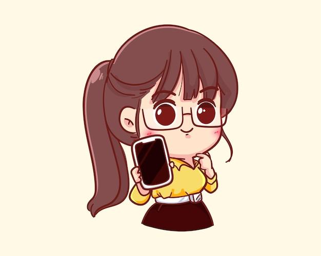 Jovem empresária segurando um smartphone e apontando a ilustração dos desenhos animados com o dedo