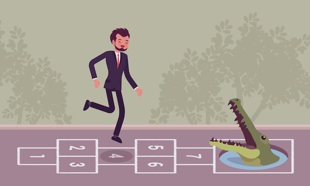 Jovem empresário despreocupado jogando amarelinha, crocodilo na frente