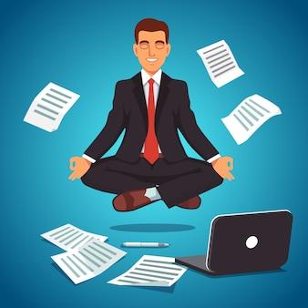 Jovem empresário levitando na posição de ioga