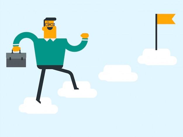 Jovem empresário pulando nas nuvens com uma bandeira.