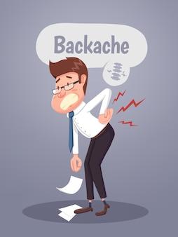 Jovem empresário que sofre de dores nas costas. ilustração vetorial