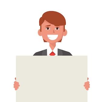 Jovem empresário sorridente mostrando ilustração de pôster em branco