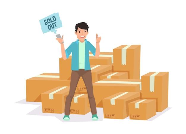 Jovem empresário tem a sorte depois que ele para ser vendedor on-line