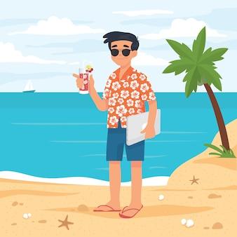 Jovem empresário trabalhando e férias ao mesmo tempo