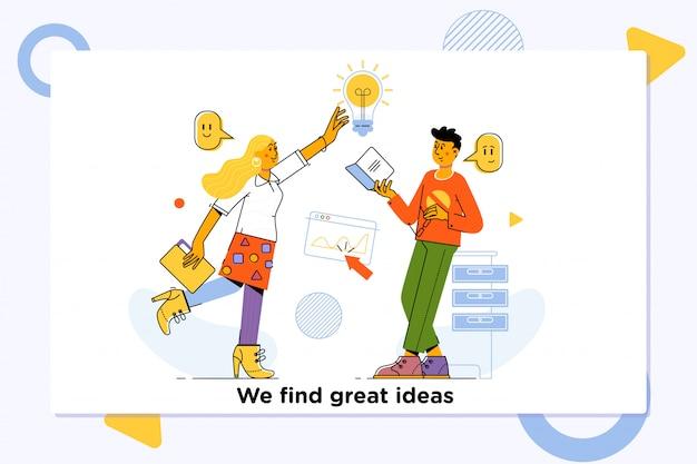 Jovem, equipe, coworkers, grande, reunião, discussão